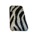 Bling covers Zebra diamond crystal cases for iPhone 3G - White