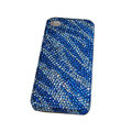 Bling covers Zebra diamond crystal cases for iPhone 4G - Blue