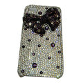 Bling covers bowknot diamond crystal cases for iPhone 4G - Purple