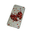 Bling covers bowknot diamond crystal cases for iPhone 4G - Red