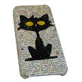 Bling covers Black Cat diamond crystal cases for iPhone 4G - White