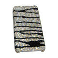 Bling covers Zebra Grain diamond crystal cases for iPhone 4G - Black