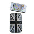 Luxury Bling Holster covers Britain Flag diamond crystal cases for iPhone 4G - Black