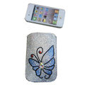 Luxury Bling Holster covers Butterfly diamond crystal cases for iPhone 4G - White