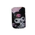 Luxury Bling Holster covers Cartoon Girl diamond crystal cases for iPhone 4G - Black