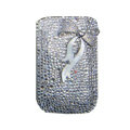 Luxury Bling Holster covers Metal Bowknot diamond crystal cases for iPhone 4G - White