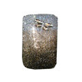 Luxury Bling Holster covers Metal Butterfly  diamond crystal cases for iPhone 4G - Brown