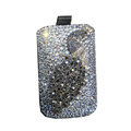Luxury Bling Holster covers Metal Peacock diamond crystal cases for iPhone 4G - Gray