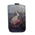 Luxury Bling Holster covers Metal Peacock diamond crystal cases for iPhone 4G - Pink