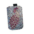 Luxury Bling Holster covers Metal Peacock diamond crystal cases for iPhone 4G - Rose