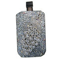 Luxury Bling Holster covers Metal Peacock diamond crystal cases for iPhone 4G - White
