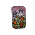 Luxury Bling Holster covers Portulaca grandiflora Flower diamond crystal cases for iPhone 4G - Pink