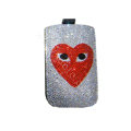 Luxury Bling Holster covers Skull Eye diamond crystal cases for iPhone 4G - White