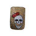 Luxury Bling Holster covers Skull diamond crystal cases for iPhone 4G - Brown