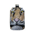 Luxury Bling Holster covers Tiger diamond crystal cases for iPhone 4G - Brown