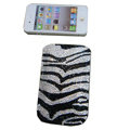 Luxury Bling Holster covers Zebra Grain Wave diamond crystal cases for iPhone 4G - Black