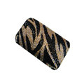 Luxury Bling Holster covers Zebra Grain diamond crystal cases for iPhone 4G - Brown