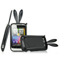 Imak Rabbit covers Bunny cases for HTC Wildfire S A510e G13 - Black (High transparent screen protector+Sucker)