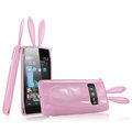 Imak Rabbit covers Bunny cases for Nokia X7 X7-00 - Pink (High transparent screen protector+Sucker)