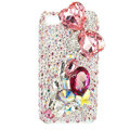 Bling Bowknot S-warovski crystals diamond cases covers for iPhone 4G - Pink