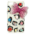 Bling Bowknot S-warovski crystals diamond cases covers for iPhone 4G - Rose