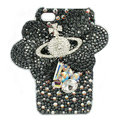 Bling Butterfly Planet S-warovski crystals diamond cases covers for iPhone 4G - Black