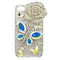 Bling Butterfly flower S-warovski crystals diamond cases covers for iPhone 4G - White