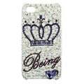 Bling Crown S-warovski crystals diamond cases covers for iPhone 4G - White