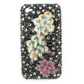 Bling Flower S-warovski crystals diamond cases covers for iPhone 4G - Black