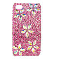 Bling Flower S-warovski crystals diamond cases covers for iPhone 4G - Rose