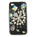 Bling Flowers Pearl S-warovski crystals diamond cases covers for iPhone 4G - Black