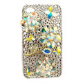Bling Flowers butterfly S-warovski crystals diamond cases covers for iPhone 4G - White
