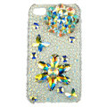 Bling Flowers butterflys S-warovski diamond crystals cases covers for iPhone 4G - White
