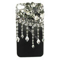 Bling Flowers raindrop S-warovski crystals diamond cases covers for iPhone 4G - Black