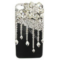 Bling Flowers raindrop S-warovski crystals diamond cases covers for iPhone 4G - White