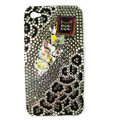 Bling Leopard S-warovski crystals diamond cases covers for iPhone 4G - Black