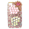 Bling Pearl flower S-warovski crystals diamond cases covers for iPhone 4G - Pink