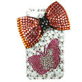 Bling S-warovski Bowknot Butterfly crystal diamond cases covers for iPhone 4G - Red