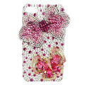 Bling S-warovski Bowknot Butterfly diamond crystal cases covers for iPhone 4G - Pink