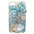 Bling S-warovski Bowknot Swan crystal diamond cases covers for iPhone 4G - Blue