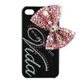Bling S-warovski Bowknot covers personalized letters diamond crystal cases for iPhone 4G - Pink
