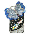 Bling S-warovski Butterfly diamond crystal cases covers for iPhone 4G - Blue