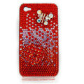 Bling S-warovski Butterfly diamond crystal cases covers for iPhone 4G - Red