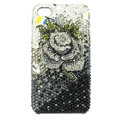Bling S-warovski Flower diamond crystal cases covers for iPhone 4G - Black