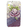Bling S-warovski Flower diamond crystal cases covers for iPhone 4G - Rose