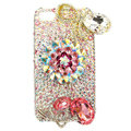 Bling S-warovski Flowers crystals diamond cases covers for iPhone 4G - White