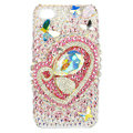 Bling S-warovski Heart Butterfly covers diamond crystal cases for iPhone 4G - Pink