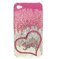 Bling S-warovski Heart Joey covers diamond crystal cases for iPhone 4G - Pink