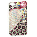 Bling S-warovski Heart Leopard covers diamond crystal cases for iPhone 4G - White