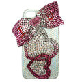 Bling S-warovski Heart bowknot covers diamond crystal cases for iPhone 4G - Red